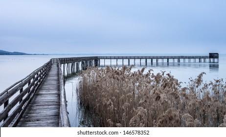 Trasimeno Lake wood bridge with observatory