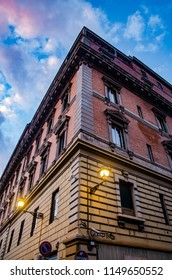 Trastevere, Rome, Italy - March 2018. Ancient Building in trastevere under sunset sky.
