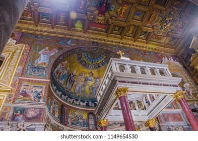 Trastevere, Rome, Italy - March 2018. Santa maria in trastevere altar.