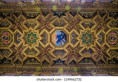 Trastevere, Rome, Italy - March 2018. Santa maria in trastevere golden ceiling.