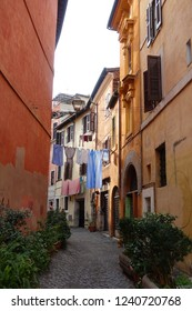 Trastevere, Rome / Italy - November 18 2018: Photo from small picturesque streets in district of Trastevere