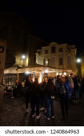 Trastevere, Rome / Italy - November 20 2018: Photo from picturesque streets Trastevere district at night