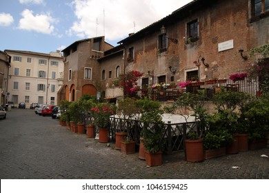 Trastevere in Rome, Italy. Trastevere is old area of Rome, on the west bank of the Tiber. Roman architecture and landmarks. Old and famous attraction of Rome and Italy.