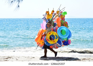 Trat, Thailand - January 01, 2019: Sellers of toys for children at Ban Chuen Beach in Trat, Thailand.