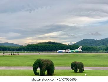 Trat Province, Thailand -24th May 2019. Bangkok Airways Plane landing in Trat Airport.