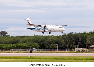Trat Thailand 30 May 2017:  Bangkok airways with ATR72-600 from Bangkok was landing to runway 23 of the Trat airport which many of tree near the airport