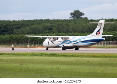Trat Thailand 30 May 2017:  Bangkok airways with ATR72-600 from Bangkok was parking from the airman's signal on the Trat airport which many of tree near the airport