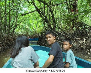 TRAT, THAILAND - APRIL 21 2017 ; people go to see view of the Amazing Tree Roots in the Mangrove Forest. APRIL 21 2017 Trat Province,Thailand