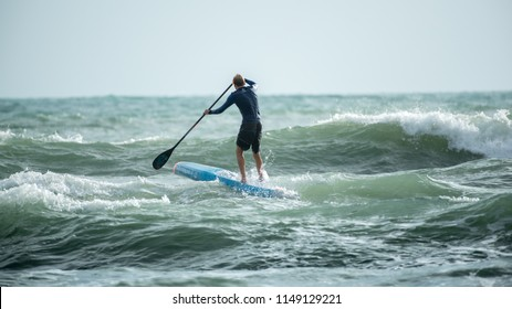 TRAT, THAILAND – AUGUST, 3 2018:The Twin Brothers Hungarian - Daniel Hasulyo and Bruno Hasulyo  Professional Stand Up Paddle Atlete to SUP Station Koh Chang with 6th&7th World Ranking.