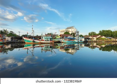 Trat, Thailand - December 01, 2018: Beautiful scene of Fishing village Ban Nam Chieo in Trat province, Thailand. This place is famous travel destinations of East Thailand.