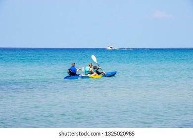 Trat, Thailand - February 10, 2019: Tourists kayaking sea beautiful area ao bang bao at Koh Kood island Trat, Thailand.