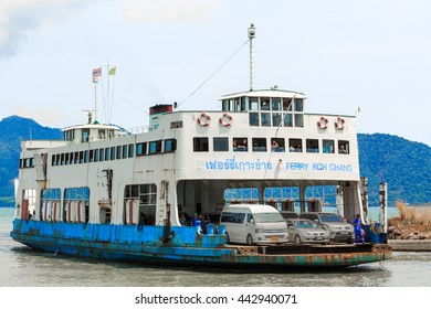 TRAT , THAILAND-  JUNE 25 , 2016 : Port ferry boat in Koh Chang Island, Trat, ,Thailand on June 25 , 2016. Koh chang Is the second largest island of Thailand.