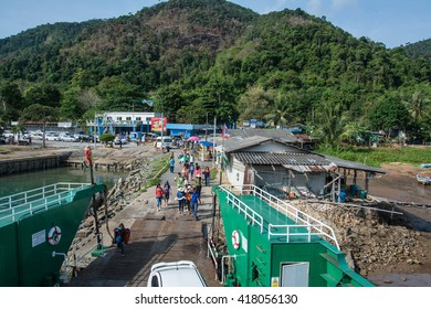 Trat, Thailand MAY 8, 2016: Port ferry boat in Koh Chang Island, Trat, Thailand. Koh chang Is the second largest island of Thailand.