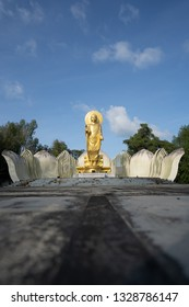 TRAT, THAILAND October 26, 2018 The Principal Buddha Statue of Buddhamonthon, Landmark of Trat Province, Religious rituals in the district