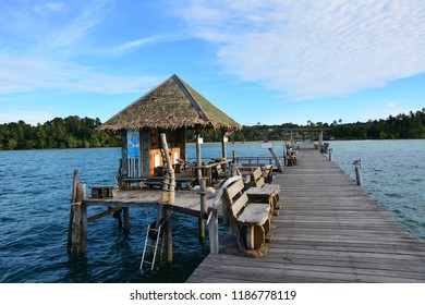 Trat, Thailand - September 19, 2018: The scenery views of Koh Mak island at Trat province in Thailand in the summer, the landmark of the island.