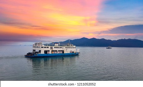 TRAT , THAILANDPort ferry boat in Koh Chang Island, Trat, ,Thailand on October 20 , 2018. Koh chang Is the second largest island of Thailand.