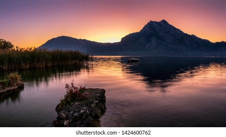 Traunsee lake before sunrise. The Traunsee is with 191 m depth the deepest lake of Austria . It is located in Upper Austria and is the second largest lake in Upper Austria after the Attersee .
