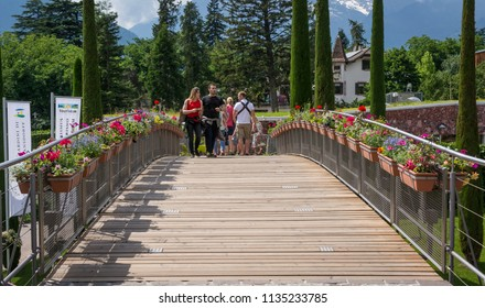 Trauttmansdorff Garden in Meran (Merano), Italy - june 27, 2018 : Avenue of access to the famous Trauttmansdorff botanical garden in Meran, South Tyrol, northern Italy