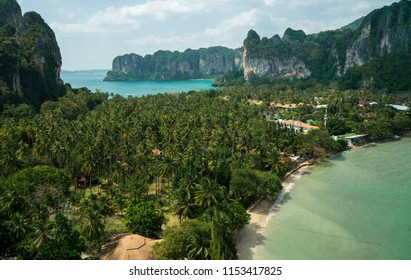 Traval vacation background - with tropical resorts on the railay beach and prhanang beach - Krabi Province, Thailand