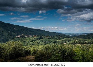 Travale, Grosseto, Tuscany - panoramic view of Travale in Tuscany from a nearby hill, you can see the skyline