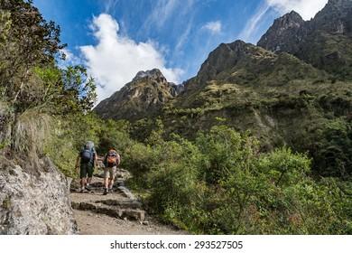 Travallers walking on The Inca Trail Dead woman's pass, Machu Picchu, Peru