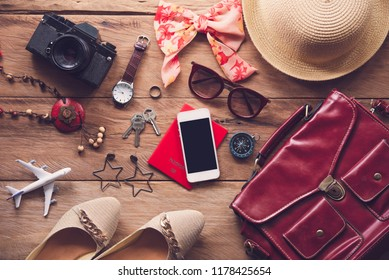 Travel accessories costumes for women. Passports, luggage, The cost of travel maps prepared for the trip