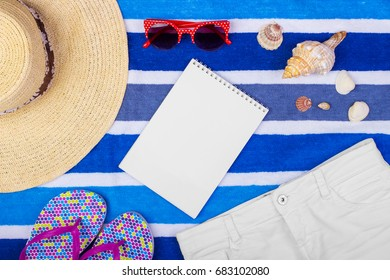 Travel accessories and fashion on blue copy space for travel poster.
