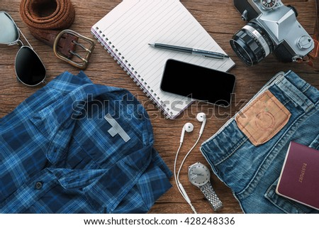 travel accessories plan traveler lifestyle travel note stock photo