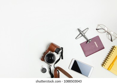 Travel accessories set on white background. Top view point.