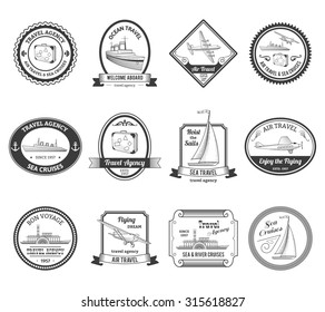 Travel agencies air and sea vacation cruises emblems labels collection with yachts black abstract isolated  illustration