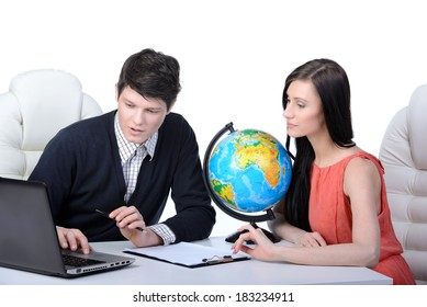 Travel agency. Man and woman at office decide to travel. studio shooting
