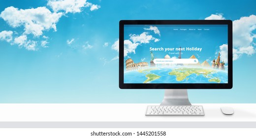 Travel agency web site on a computer display. Free space beside for text.