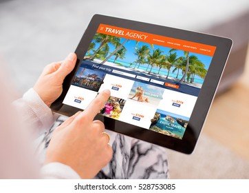 Travel agency's website on tablet computer