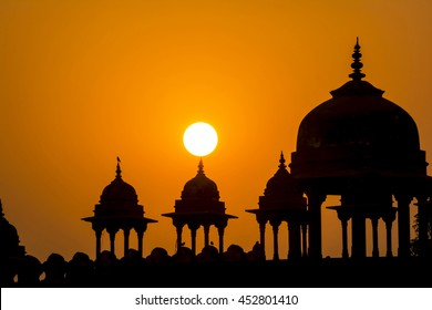 Travel in Agra: dramatic suset at Fatehpur Sikri, Agra City, India.