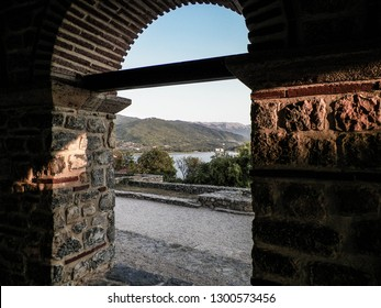 Travel and architecture concept. Window columns from Samuel's Fortress in Ochrid City, Macedonia. Ochrid is one of the oldest city in Macedonia.
