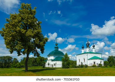 Travel around Russia. Pyatnitskaya Church (left) and the entry into Jerusalem Church (right) in the center of Suzdal.
