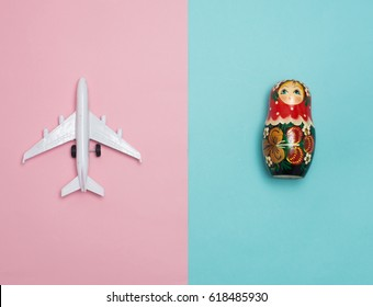 Travel around the world for your colorful life .Enjoy the funny trip journey .Top view for copy space some idea your create destination .object  cute  ,world  vintage on color background