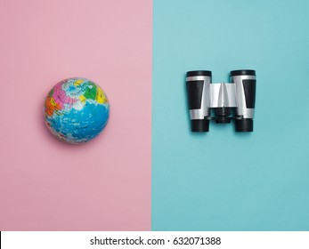 Travel around the world for your colorful life .Enjoy the funny trip journey .Top view for copy space some idea your create destination .object  cute  world bicycle vintage on color background