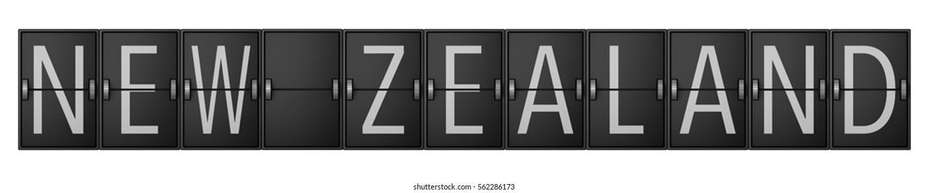 Travel arrivals departure board showing new zealand. 3D rendering