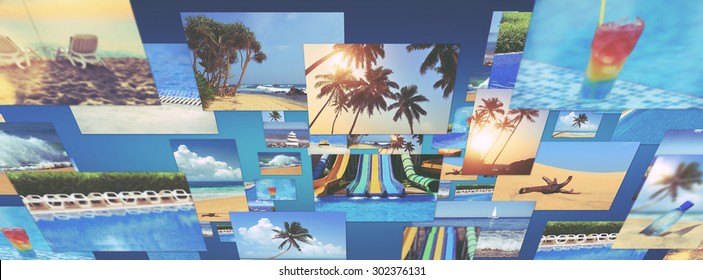 Travel background collage with many photo. Vintage effect