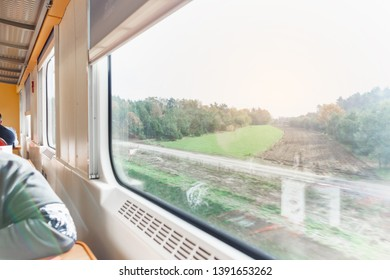 Travel background. Nature view through the window in the train