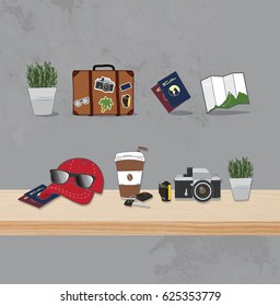 travel backpacker icon and background
