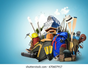 Travel backpacks with climbing equipment and mountain in the background