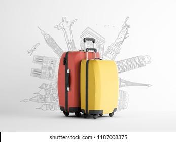 Travel bag background concept. Colorful plastic voyage bag.