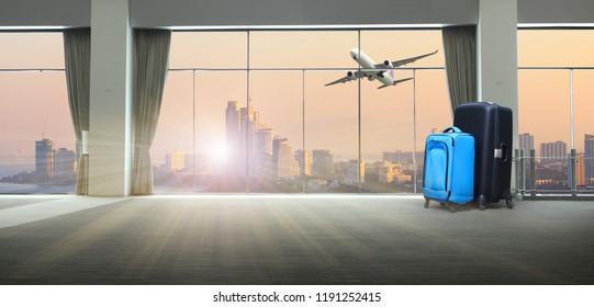 travel bag  in terminal  of international airport