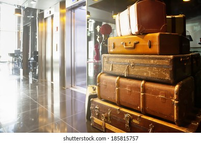 travel bags and cases in hall of hotel