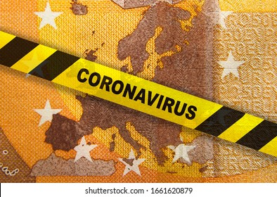 Travel ban and Coronavirus quarantine in Europe. Concept. 50 Euro banknote with EU map and yellow tape. Economy markets impacted by corona virus COVID-19 pandemic. Concept. Montage. - Shutterstock ID 1661620879