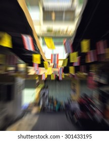 Travel in bangkok of Thailand by original transportation system, Festive background with defocused lights, Bokeh , Lighten, Line of light , speed movement
