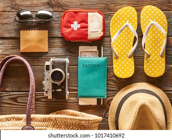 Travel and beach items flat lay still life