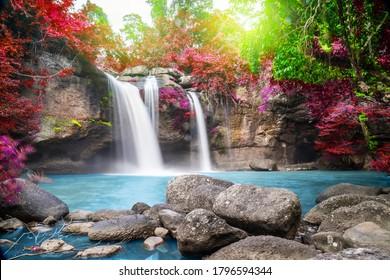 Reisen Sie im Herbst zum schönen, bunten, majestätischen Wasserfall im Nationalpark Wald, weiches Wasser des Baches im Naturpark